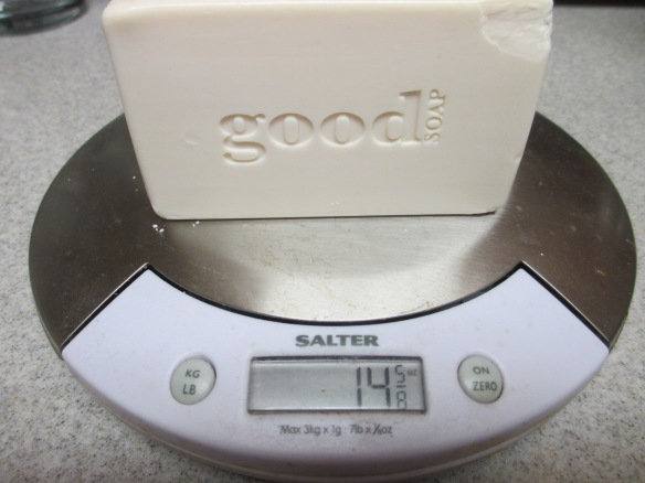 I weighed a bar of soap to figure out how much water I would need. I used 3 bars of soap, so approximately 45 ounces of soap. Rather than using 540 ounces of water, I started with a gallon of water and rolled the dice. Actually, my math was bad and I estimated a gallon and a half of water forgetting about the other two bars LOL